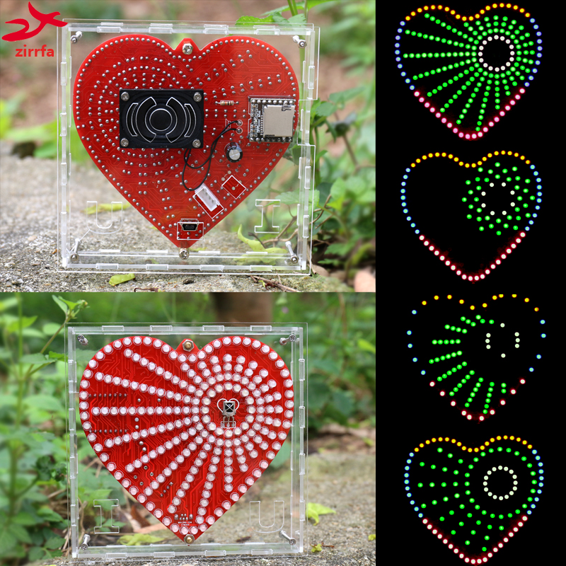 New Mp3 Music Player Heart-Shaped Lights Cubeed,Music Spectrum Kit ,Led Electronic Diy Kit