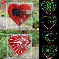 zirrfa New mp3 music player heart-shaped lights cubeed,Music spectrum kit ,led electronic diy kit