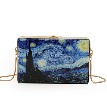 Fashionable Oil Painting Cartoon Vintage Box Style Ladies Party Clutch Bag Shoulder Bag Tote Crossbody Mini Messenger Bag F shoulder bag