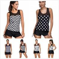 Plus Size Tankini Set With Boxer Shorts 2018 New Women Polka Dot Printed Swimsuit Geometric Black Swimwear deux piece 3XL