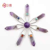 Xinshangmine amatistas moradas naturales cristal curativo generador de energía de 7 puntos 7 piedras de Chakra péndulo encantos espirituales