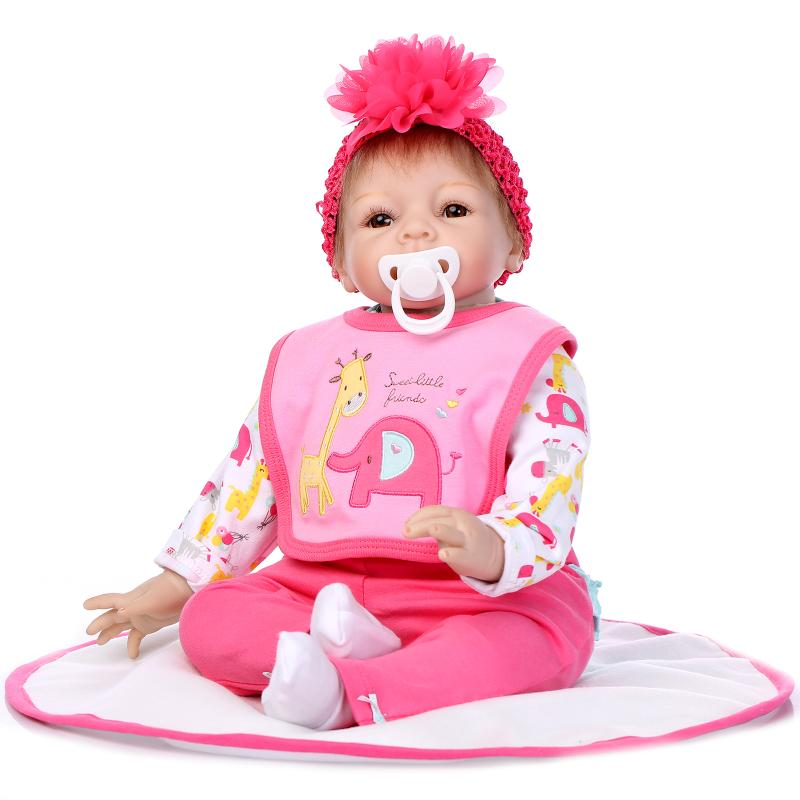 55cm Silicone reborn baby dolls toys for girls simulation soft baby dolls child present gifts newborn babies early education toy soft silicone reborn baby dolls toys for girls lifelike birthday present gifts cute newborn boy babies bedtime play house toy