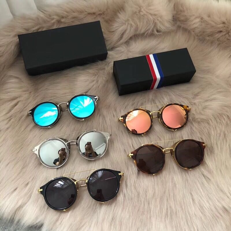 Vintage retro quality punk style round sunglasses TB804 alloy acetate frame coating lens fashion original box