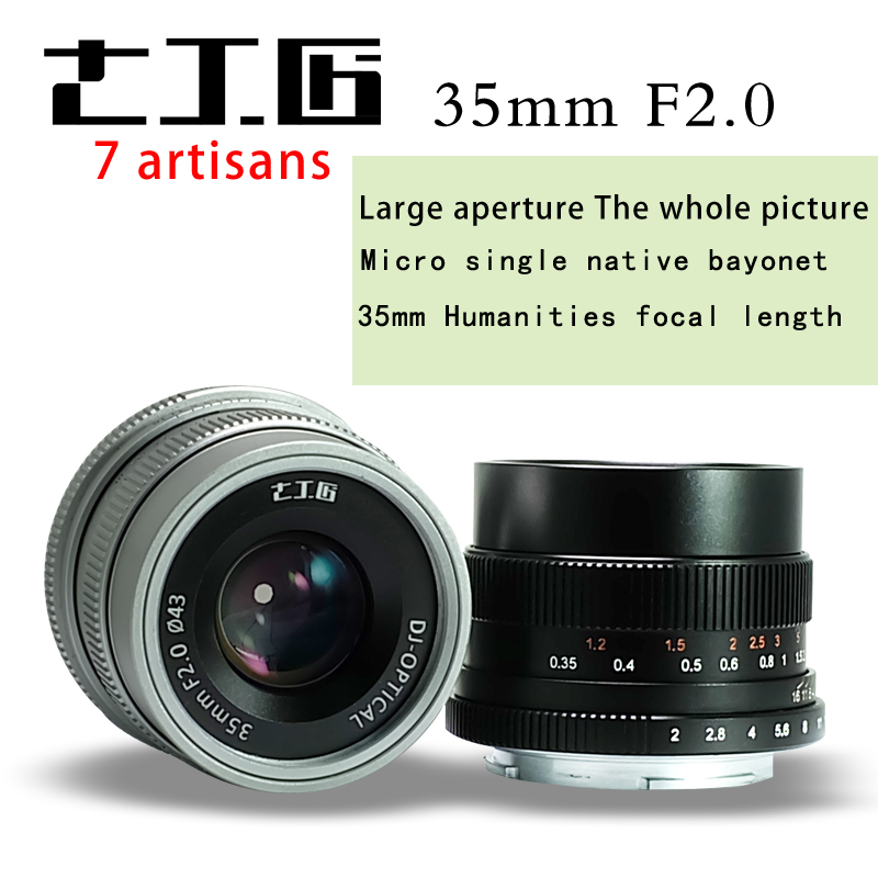 Camera Lens 7 artisans 35mm f2.0 Premier Objectif à Tous Seul pour E-montage FX Caméra à monture a7 A7II A7R A7RII A7S A6500 X-A10 X-A2 X-A3