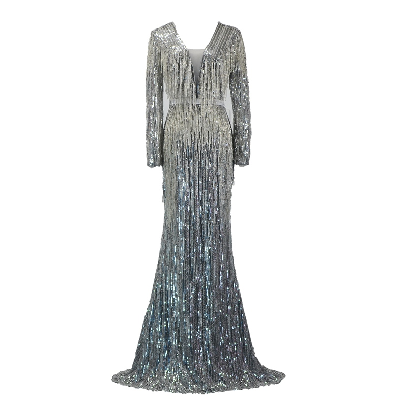 982d3eb77565 SSYFashion New Luxury Sequins Mermaid Evening Dress Long Sleeve V-neck Sexy  Tassel Beading Fishtail Formal Prom Gown Custom