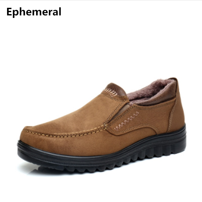 Man shoes brand casual long fur shoes winter men round toe loafers thick sole anti-skid slip-ons plus size 50 49 37 camel black