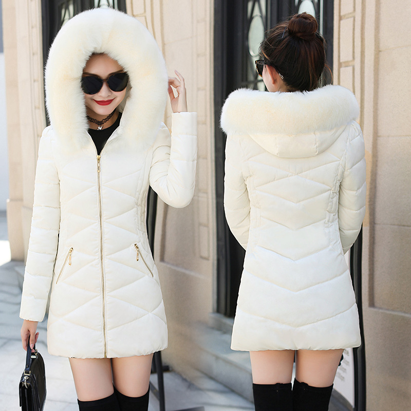 Winter New Cotton-padded Clothes Women Long Heavy Thick Jacket Snow Coat Big Hair Collar Hooded Loose Coat Female   Parka   Overcoat