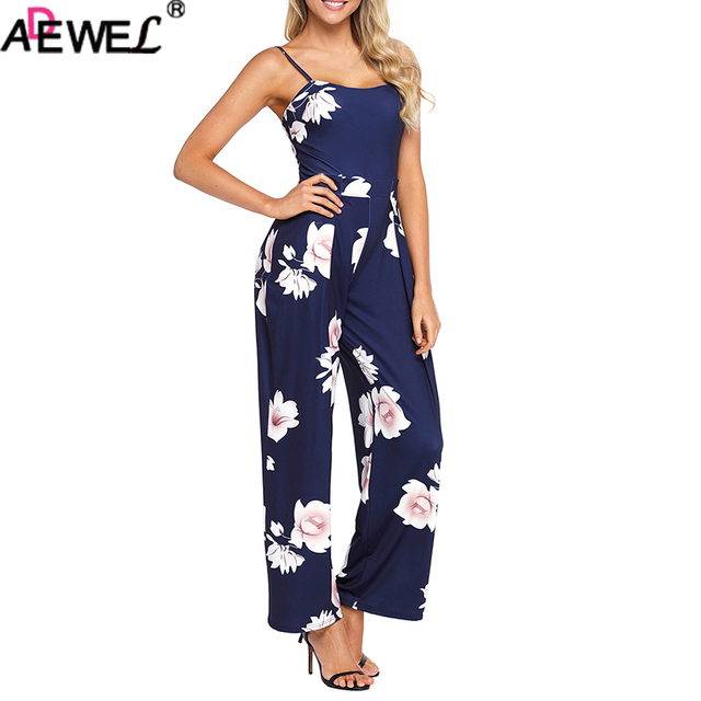 f93b81fe1994 ADEWEL Summer Floral Printed Jumpsuit Women Halter Sleeveless Wide Long  Pants Jumpsuit Rompers White Navy Fashion Long Jumpsuit
