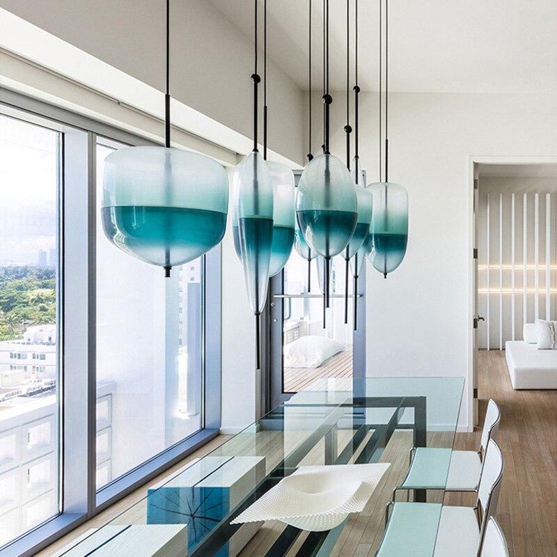 Poste moderne Suspension lumières lac de venise bleu dégradé verre Suspension lampe pour Restaurant café Bar Art déco Suspension Luminaire