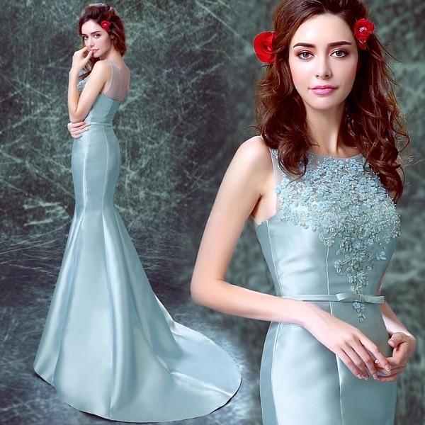 kvinner Himmelsblå sateng garn applique blomstret Perler slank - Nasjonale klær - Bilde 1