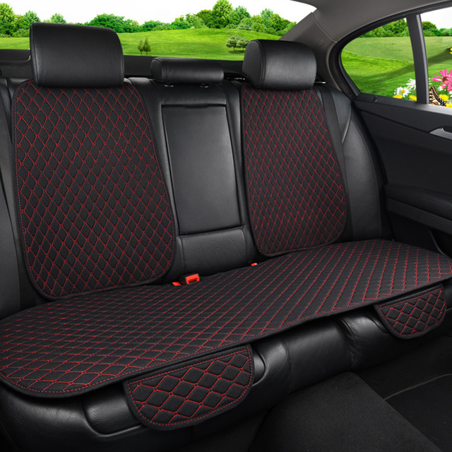 Car Seat Cover Universal Flax Car Rear Seat Cushion with Backrest Four Seasons Interior Auto Chair Seat Carpet Mat Pad