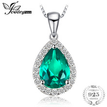 JewelryPalace 0.7ct Water Drop Dibuat Emerald Pendants Asli 925 Sterling Silver Fashion Fine Jewelry Tidak Termasuk Rantai