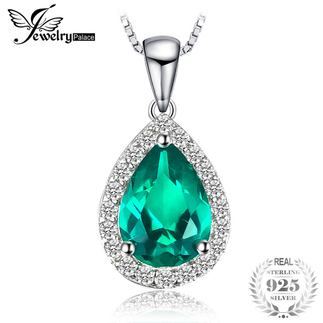 JewelryPalace jewelry silver necklace For Women 0.7ct Created Emerald Pendants 925 Sterling Silver Genuine Fashion Not Chain
