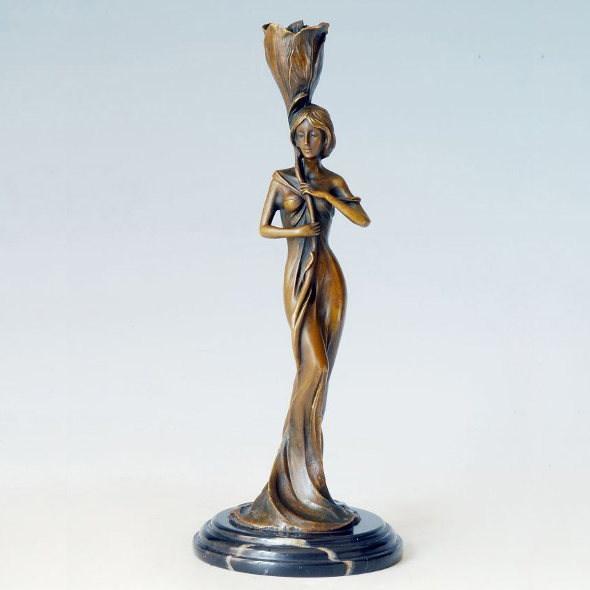 ATLIE Bronzes Classical Bronze standing girl  statue Candle Holder - Home Decor - Photo 1