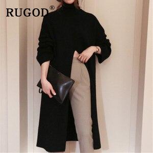 Image 3 - RUGOD Ins new fashion high split women sweater turtleneck Long sleeve warm wintere pullovers female Korean long style streetwear