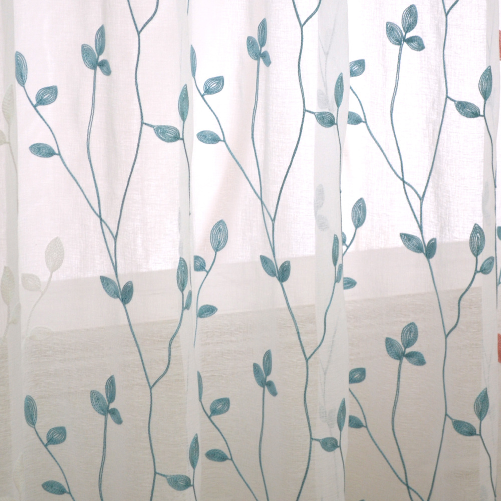 Leaves Embroidered Living Room Curtains White Sheer Cortinas Tulle Window Curtain Rideaux Rideau Voilage
