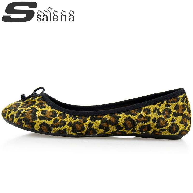 2017 Spring Women Single Shoes Leopard Print Female Flats Lazy Shoes Plus Size W