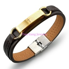 new fine fashion jewelry Genuine PU leather Gold Cross Men Classical bracelets Personality gifts creative accessories