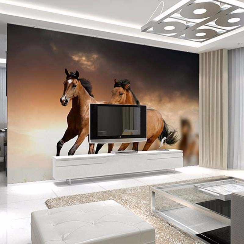 مخصص أي حجم 3D الحصان سباق جداريات خلفيات لغرفة المعيشة صور خلفيات الجدار ورقات ديكور المنزل Papel دي Parede 3D
