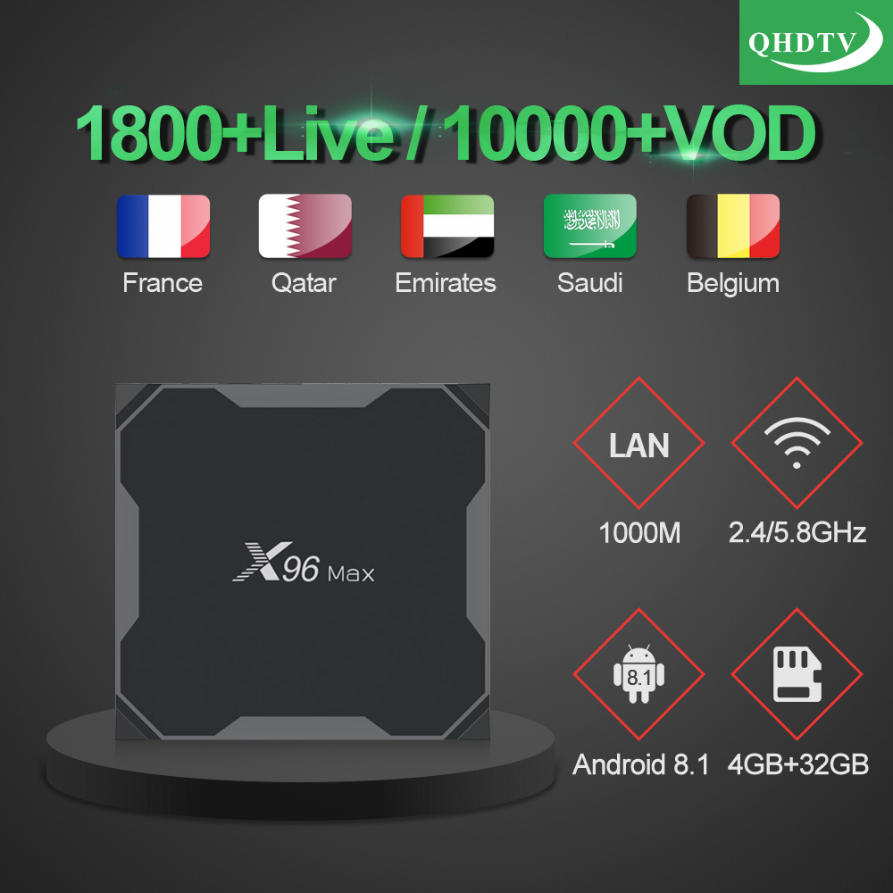 X96 MAX Tv Box 4GB 32GB Android 8.1 S905X2 With QHDTV 1 Year Code Iptv Subscription French Arabic Morocco Belgium Netherlands-in Set-top Boxes from Consumer Electronics