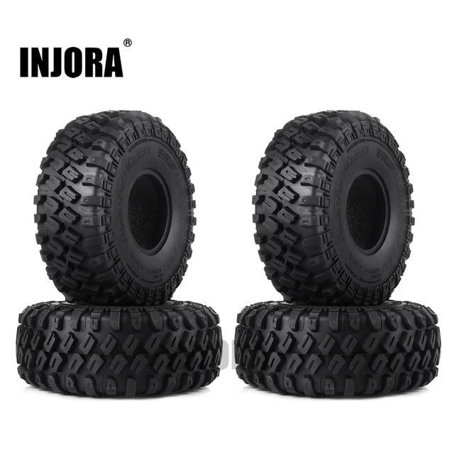 "INJORA 4 stks 123*45mm 1.9 ""Rubber Tyre Wheel Banden voor 1:10 RC Rock Crawler Axiale SCX10 SCX10 II 90046 90047 Traxxas TRX-4 TRX4"