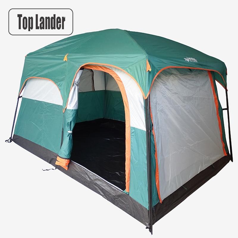 4-6 personnes grande famille Camping tentes imperméable Double couche partie extérieure deux chambres coupe-vent 4 saison plage cabine tente