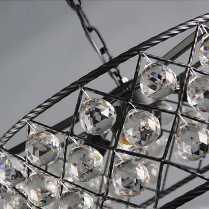 Image 3 - Черный железный роскошный круговой креативный современный подвесной светильник с кристаллами модные лампы Led Chiip для Dinging Room Bar домашний светильник ing-in Люстры from Лампы и освещение