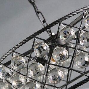 Image 3 - שחור ברזל מעגלי יוקרה Creative מודרני תליון אור גביש אופנה מנורות Led Chiip עבור Dinging חדר בר בית תאורה