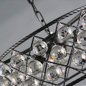 Image 3 - เหล็กสีดำหรูหราวงกลมโมเดิร์นจี้คริสตัลแฟชั่นโคมไฟ Led Chiip สำหรับ Dinging Room Bar บ้าน
