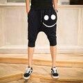 2016 Pantalones Cortos del Harem de Hombres de Verano Hombres Ocasionales activos Shorts Jogger Harem Pantalones Cortos Bermudas de Algodón Negro Pantalones Cortos