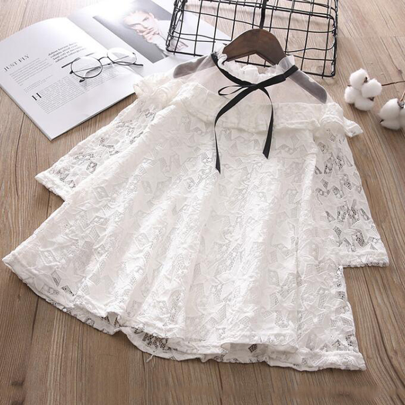 Baby girl princess dress fashion summer long sleeve mesh pacthwork cold shoulder ruffles lace dress kids fungus collar bow dress blue lace up design chimney collar cold shoulder long sleeves t shirts