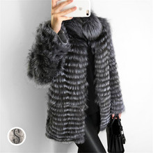 FURSARCAR 2019 New Real Fur Coat Women With Collar Jacket For Female Fashion Winter Natural Silver Fox Garment Lady