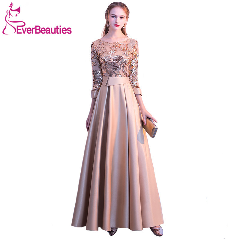 Mother Of The Bride Dress 2019 New  Elegant Gold And Navy Blue 3/4 Sleeves Satin Sequins Long Party Formal Gown Banquet Dress