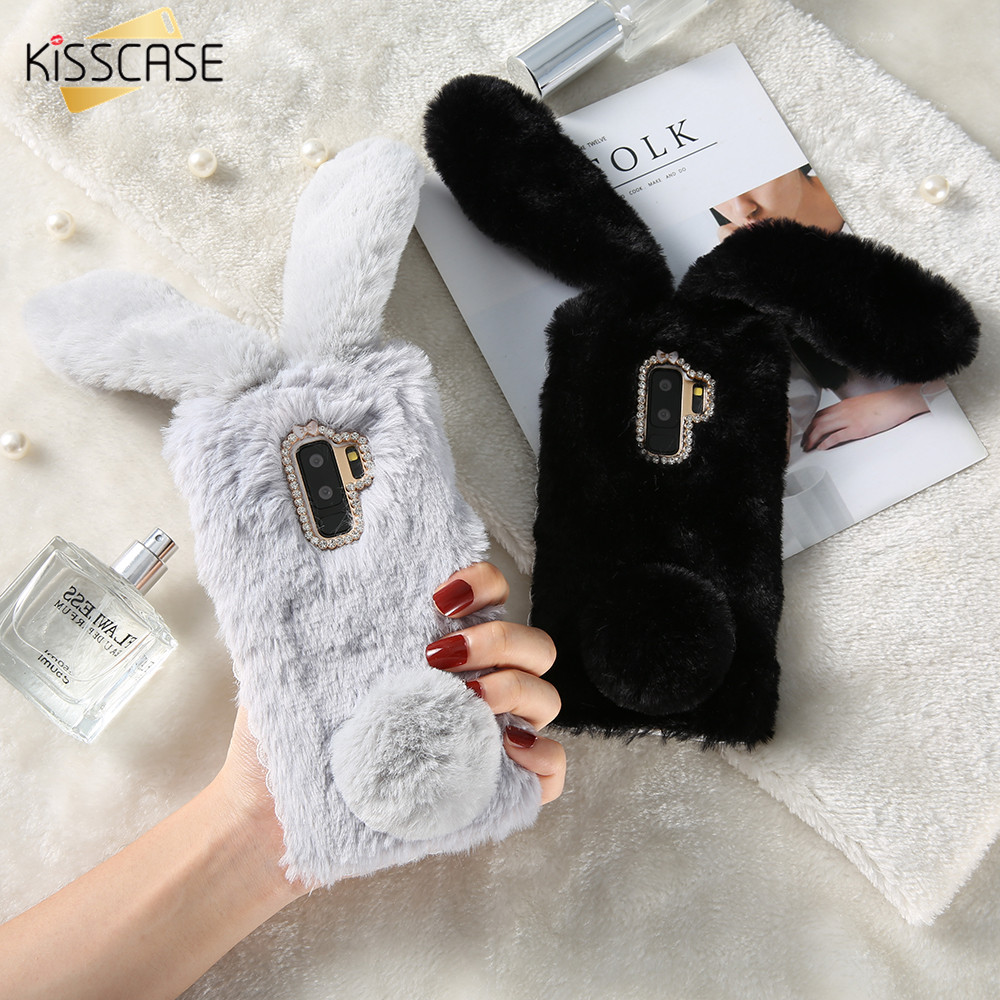 KISSCASE Real Rabbit Fur Case for iPhone 5s 4 5 SE Case for iPhone 8 X 7 6s 6 8 plus Cut ...