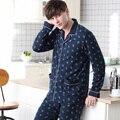 2016 зимние толстые коралловые флис пижамы наборы сна топы & попы мужской фланель теплый пижамы тепловой дома одежда