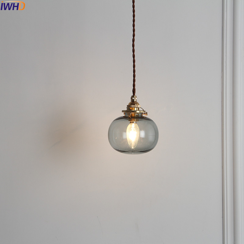 Image 3 - IWHD Nordic Glass Ball Pendant Light Fixtures Dinning Living Room Copper Vintage Pendant Lamp Hanging Lights Home Lighting-in Pendant Lights from Lights & Lighting
