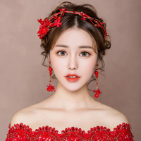 Red Fabric Flower Headband Hair Accessories Fashion Korean Headpiece Wedding Engagement Bridal Headpiece with Clip on Earrings