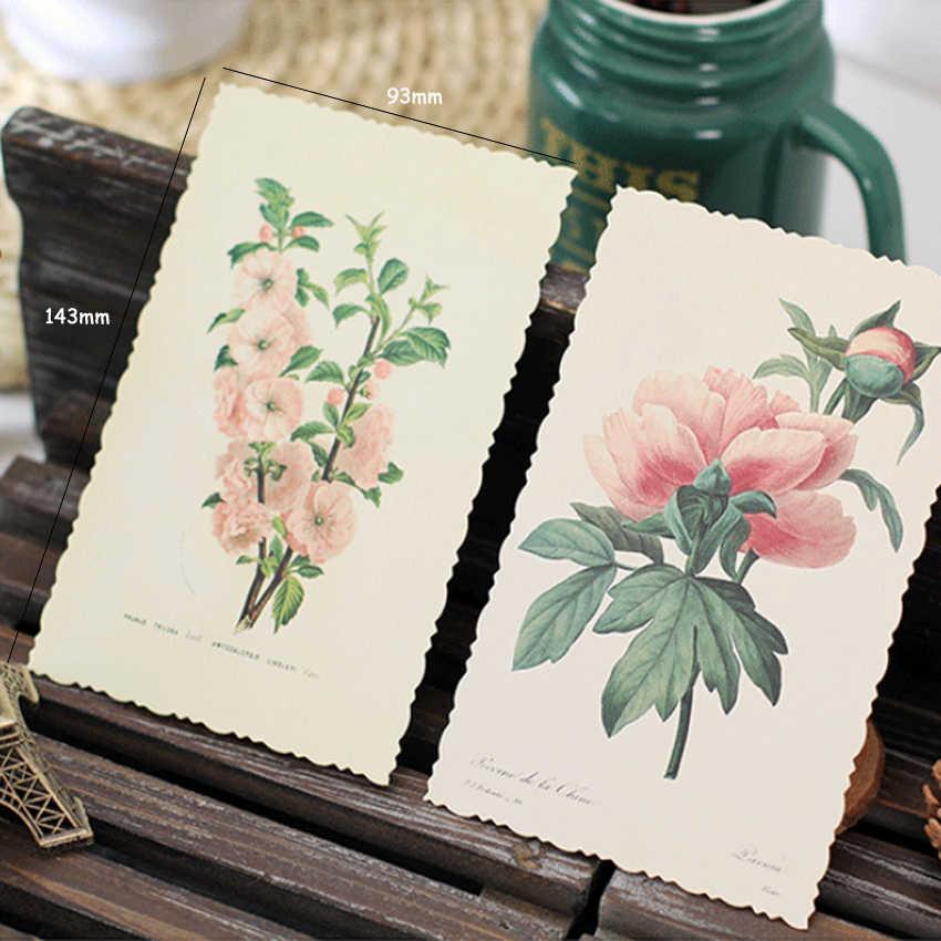 4 แพ็ค/ล็อต Vintage พืชและดอกไม้โปสการ์ด Multi ธุรกิจการ์ดอวยพรกระดาษการ์ดข้อความป้ายเชิญขายส่ง