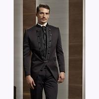 Marrone scuro Sposo Tuxedo men suit Mandarin Risvolto Sera Cena di Nozze Abiti Sposo terno masculino (Jacket + Pants + Tie + Vest)