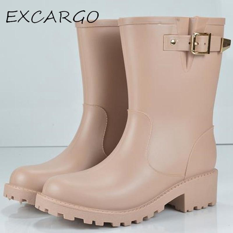 Add Sock Women font b Rain b font font b Boots b font Buckle Winter Autumn