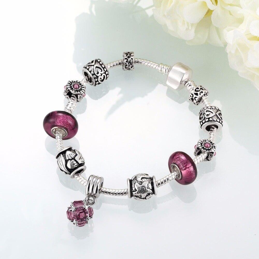 HERMOSA jewelry New Fashion Gorgeous purple Bead DIY Removable plating silver woman Bracelet 20cm PDRH039