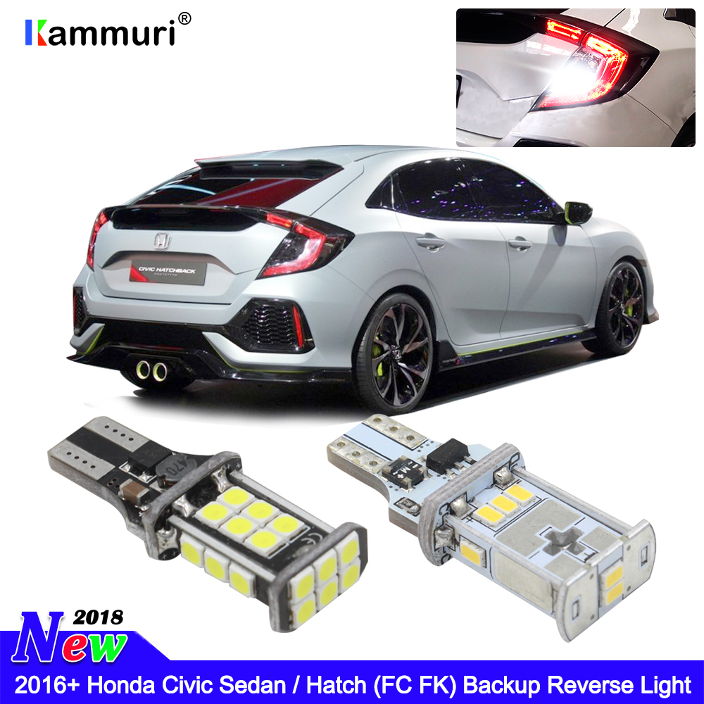 KAMMURI Error Free W16W T15 LED Bulbs Fits HONDA Civic FC FK 2016+ LED Reverse Light
