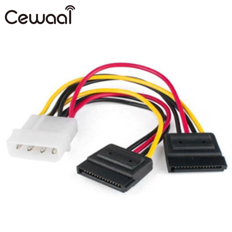 CEWAAL Molex To SATA Power Y Splitter Dual Hard Drive Cable Adapterr 2 Way 4 Pin IDE Molex To 2x 15 Pin Power Adapter Cable black net jacket sleeved 12 inch 1 to 2 molex tx3 3 pin case cooling fan splitter hub power adapter cable cord atx psu 12v 5v