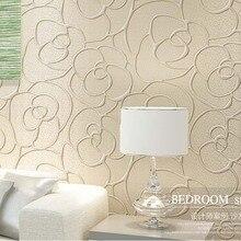 QIHANG Modern Minimalist Embossed 3D Rose Flower Non-woven Wallpaper Cream Color 0.53m*10m=5.3m2
