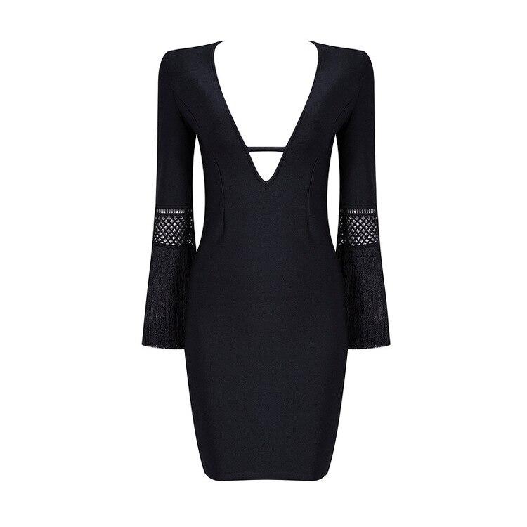 Noir Out Femme V Mode Creux Gros Bureau Pour Qualité Moulante Sexy Élégant Lacée Gland En Celebrity cou De Plein Top Mini Robe 1A7vnUx