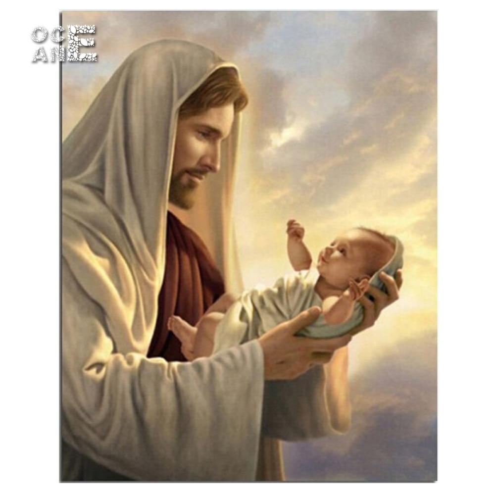 Jesus loves children mosaic needlework arts diamond painting cross stitch Religious ICONS full square diamond embroidery E059