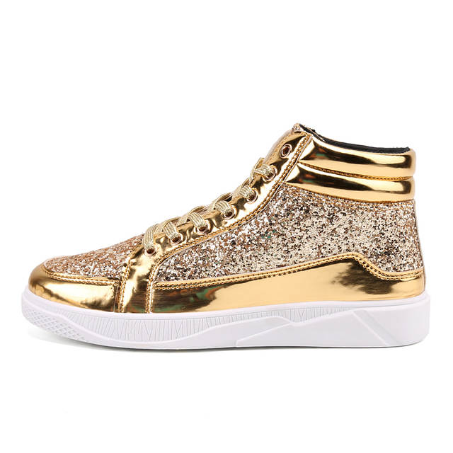 placeholder Valstone 2018 Men s Hip Hop shoes leather casual shoes Gold  fashion sneakers Shinning silver high Vulcanized 2debfe6c620a