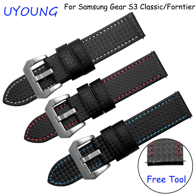 Carbon fiber pattern watchband 22mm for Samsung Gear S2 Classic/Forntier smart wristbands waterproof bracelet samsung gear s2