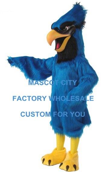 Длинные волосы синий Jay Маскоты костюм Делюкс плюшевые Маскоты te костюм партии Карнавал Cosply Костюмы sw547