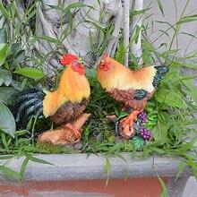 2 шт животные куриные модели скульптура смолы для домашнего сада двора декор яркий